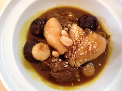 japanese curry(0.0), produce(0.0), pot roast(0.0), meal(1.0), stew(1.0), curry(1.0), beef bourguignon(1.0), meat(1.0), food(1.0), dish(1.0), cuisine(1.0),