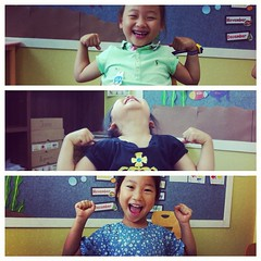 """""""Show me your muscles."""" I love these goofy little chicks so much."""