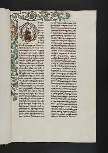 Hand coloured woodcut initial and woodcut border in Pelagius, Alvarus: De planctu ecclesiae