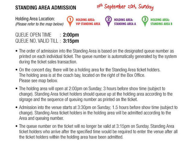 Standing Area Admission 14th September 2014