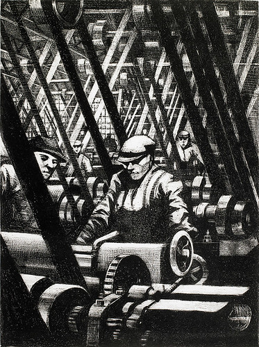 CRW-Nevinson,-Making-the-Engine,-1917,-lithograph,-40.4-x-30.3---cm.-Courtesy-of-Osborne-Samuel