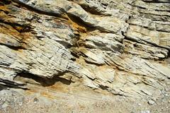 Cross bedding in structurally tilted quartzose sandstones (Dakota Sandstone, Lower Cretaceous; crest of Dinosaur Ridge (Dakota Hogback), west of Denver, Colorado, USA)