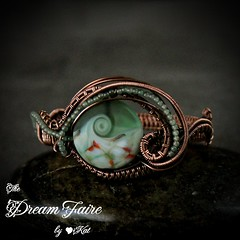 Graceful Wave - Lampwork, Aventurine and Copper Wire Woven Cuff Bracelet