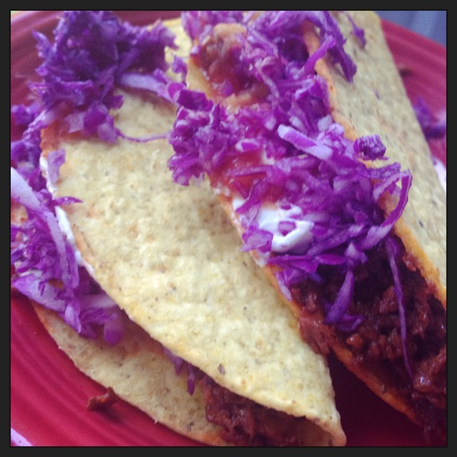 Jay made delicious #vegan tacos, with red cabbage slaw.  #whatveganseat #becausejayisthebest