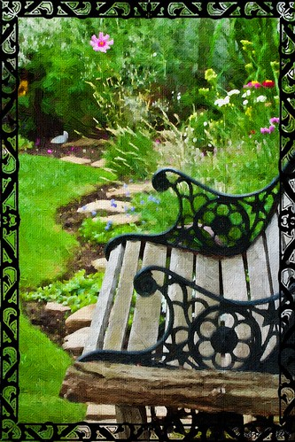 Scroll Garden Bench - Digital Oil Art Work
