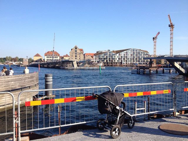 Blue September sky and blue waters in central Copenhagen