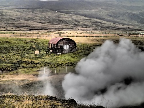 Geothermal steam vent in Iceland field