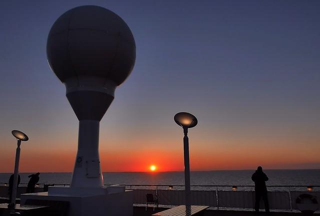 Sunset onboard MS Color Fantasy in Kattegat, Denmark