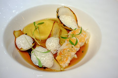 Gently seared Langoustines, Smoked Vegetable Broth