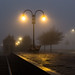 No travelers present on the train platform, too foggy by BraCom (Bram)