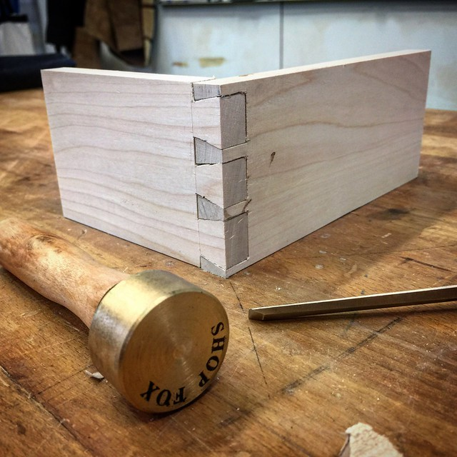 My first dovetail joint. Complete with blood stains!