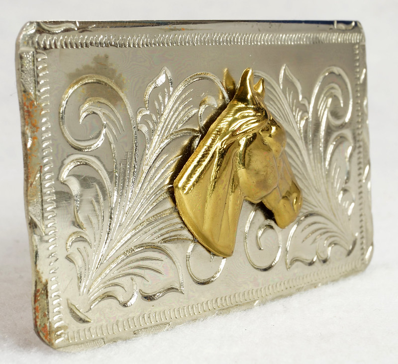 RD15035 Vintage Rockmount Denver Nickel Silver Horse Head Belt Buckle DSC07431