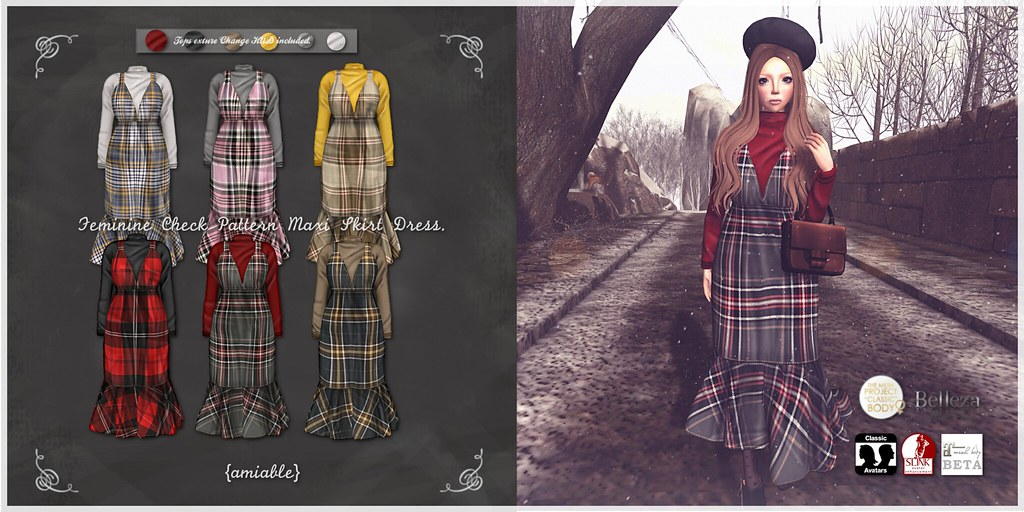{amiable}Feminine Check Maxi Skirt Dress@the Shiny Shabby(50%OFF SALE). - SecondLifeHub.com