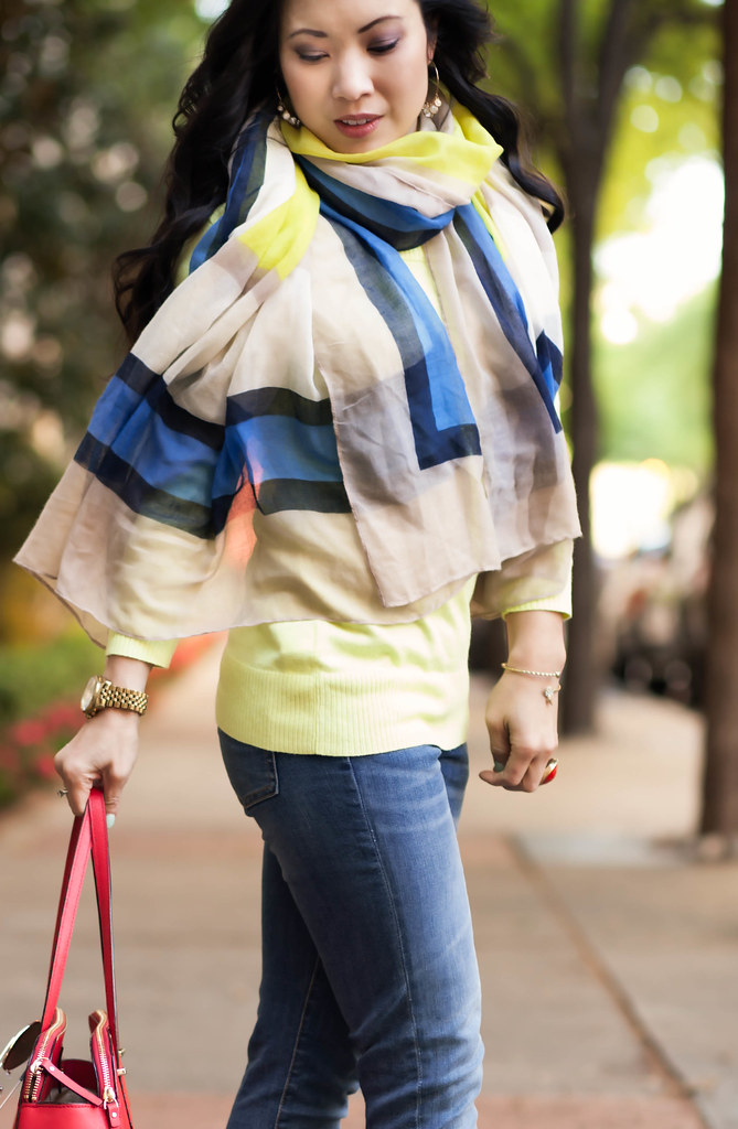 cute & little blog | petite fashion | spring outfit | neon yellow sweater, cobalt colorblock scarf, rolled jeans, red kate spade bag