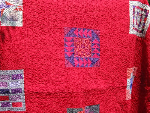 red/purple quilt