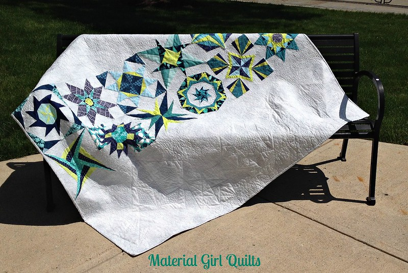 Lucky Stars Quilts on bench