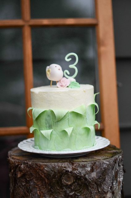Leaf Birthday Cake with Bird Topper