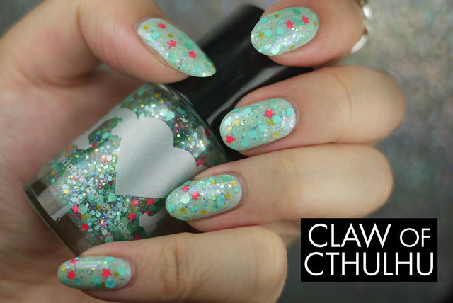 Rainbow Honey Sea Star Swatch (over top of Essence That's What I Mint!)