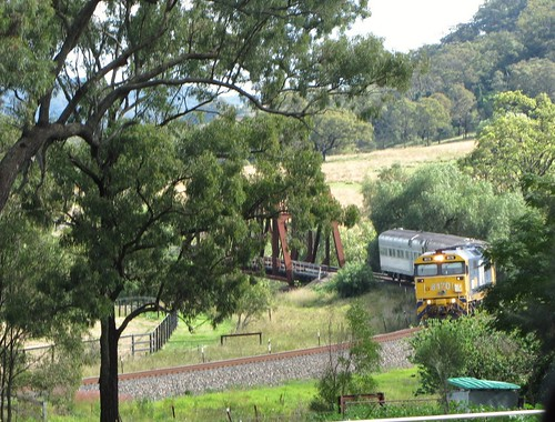 8170 leads the AK cars across the Wybong creek bridge