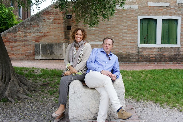 Brian and Maria sitting on Attila's throne - Torcello Venezia