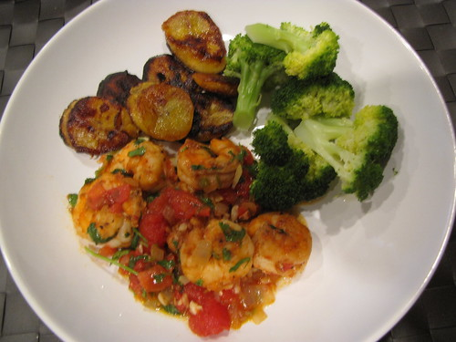 Shrimp Mexicana, Plantains, & Broccoli