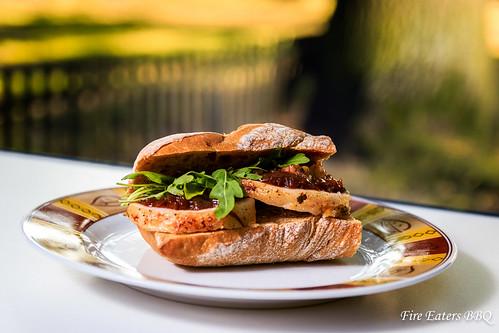 Porchetta-Sandwich - Anrichten