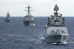 Indian Navy and U.S. Navy ships operate together during a previous Malabar exercse. (U.S. Navy file photo)