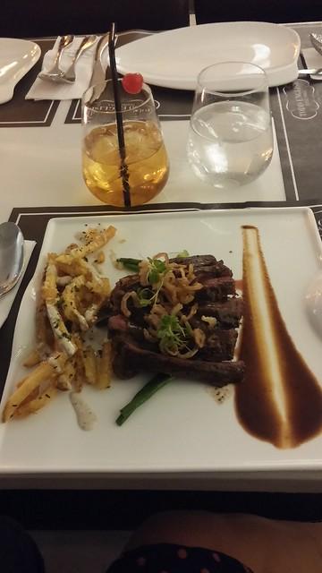 Hanger steak with truffle fries
