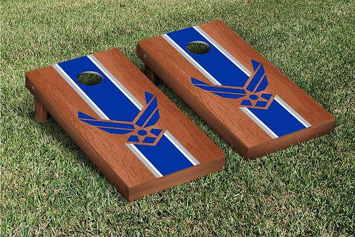 Air Force Falcons Corn Hole Game Set Rosewood Stain Stripe