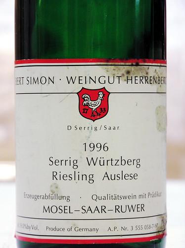 Weingut Bert Simon 1996 Serrig Wurtzberg Riesling Auslese Mosel-Saar-Ruwer