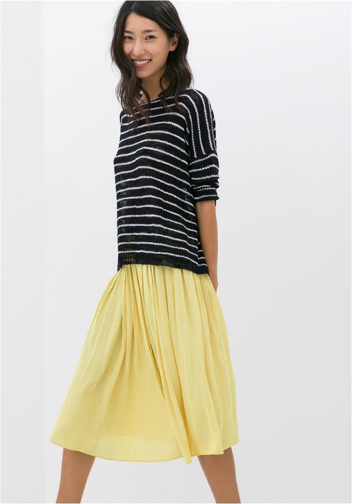 falda amarilla midi zara