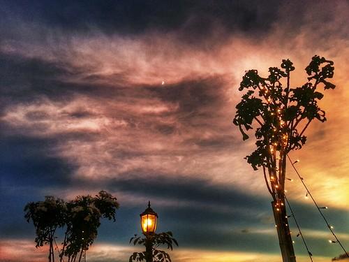 sunsetmoon cloudsskyeveningcolors