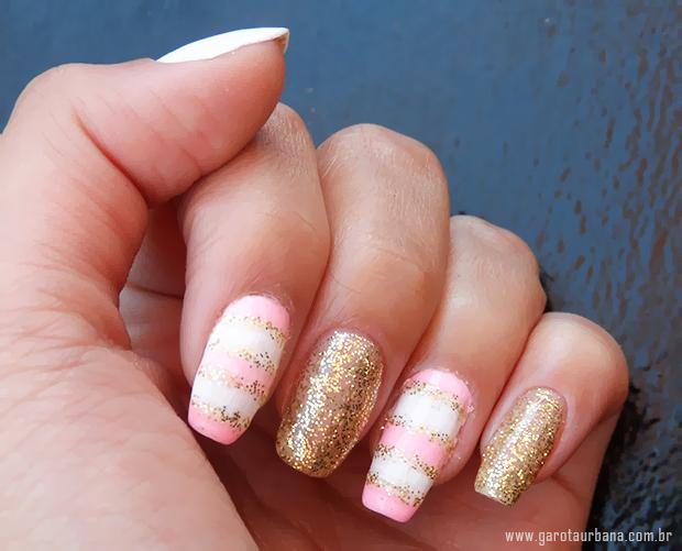 Unhas dourado e rosa 7