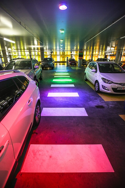 Colorful parking lot at Harpa concert hall