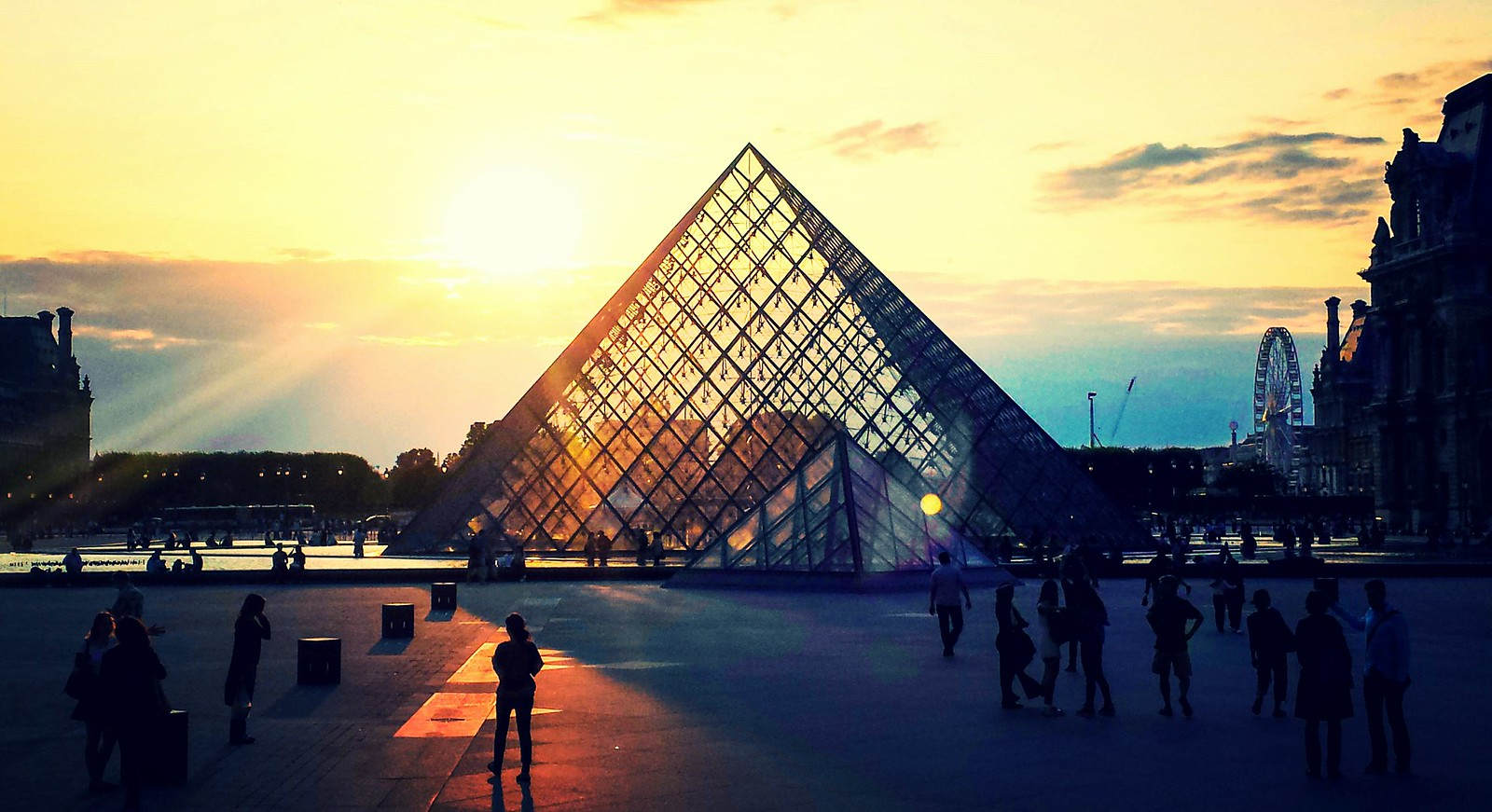 The Louvre Pyramid and Courtyard at Golden Hour