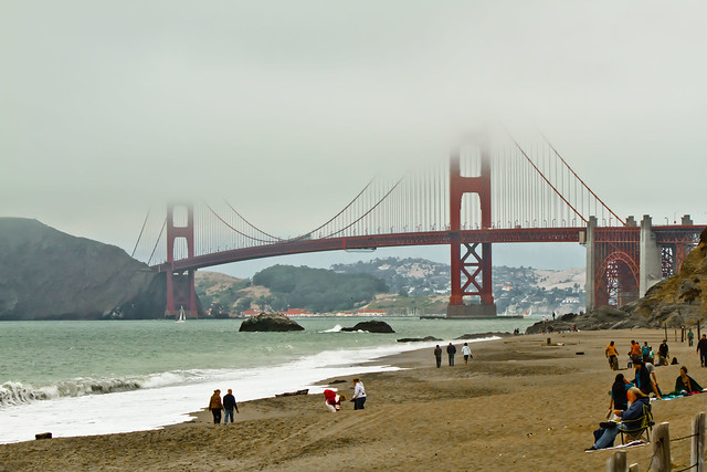 Hanging out at Baker Beach with the Golden Gate Bridge and Karl the Fog