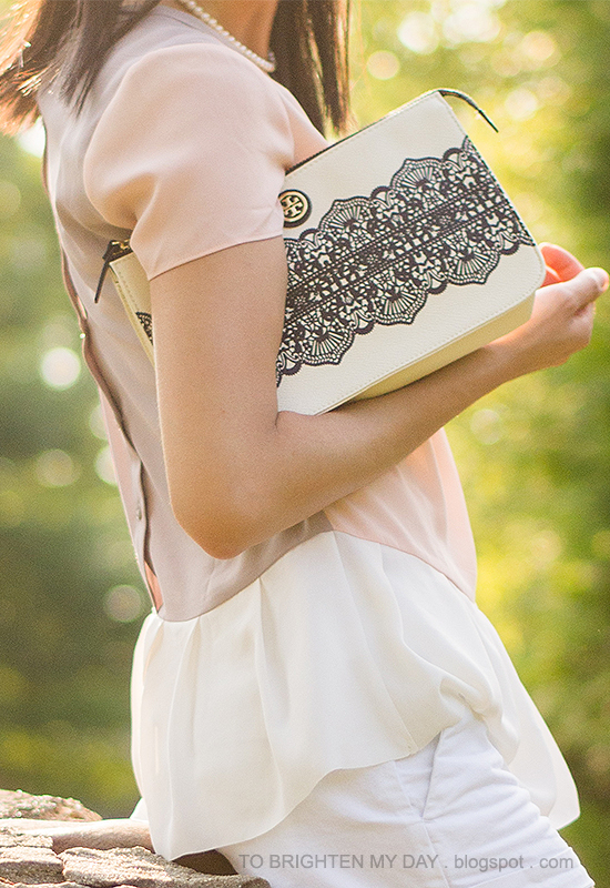colorblock peplum top, white shorts, lace printed clutch