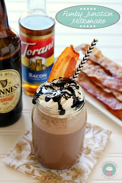 This Funky Junction Milkshake is for adults only! Get funky with this Guinness, bacon syrup, espresso, chocolate ice cream, chocolate syrup, bacon whipped cream & real bacon shake! #milkshake #baconmonth #putsomepiginit #chocolate #alcohol