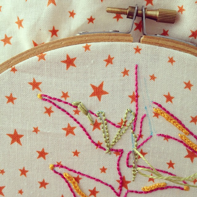 In green, satin stitch on the left, backstitch on the right. For the #airembroideryclub #embroidery #illustration