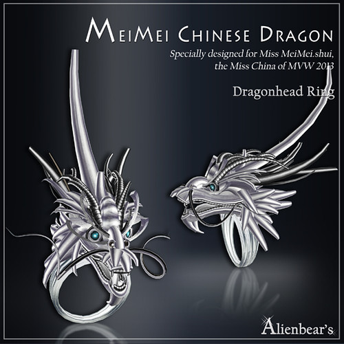 MeiMei Chinese Dragon Pt Head Ring