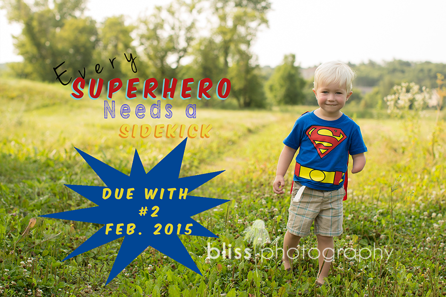 pregnancy announcement bliss photography superhero3
