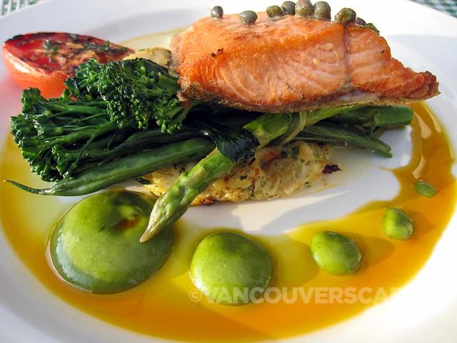 Sockeye salmon, crab cakes, lemon-caper purée