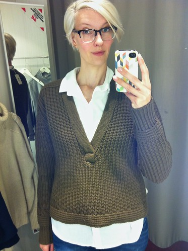 H&M A/W 2014 Studio Collection heavy knit khaki sweater