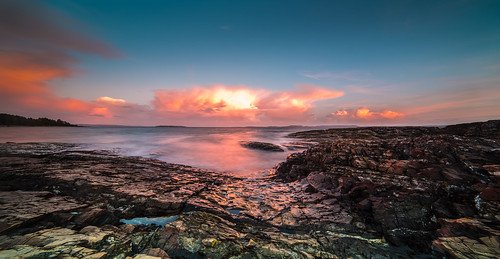ocean longexposure summer sky panorama sun color nature norway clouds nikon rocks horizon july le archipelago d800 14mm samyang sunlightevening costallandscape