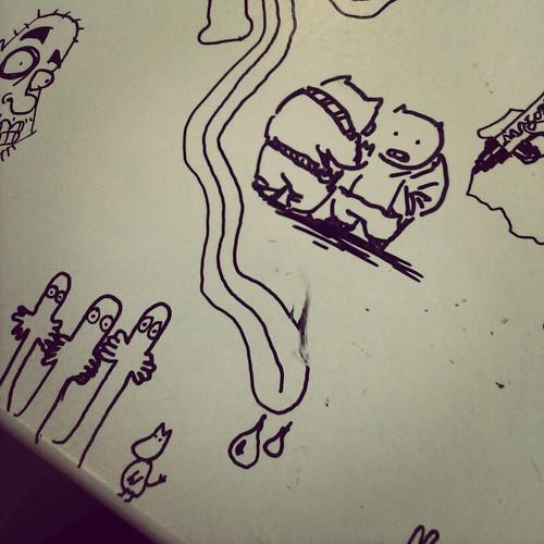 My piggy doodle on the doodling table in Sarjakuvakeskus V^(oo)^V