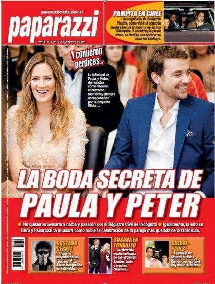 la boda secreta de Paula y Peter en la revista Paparazzi