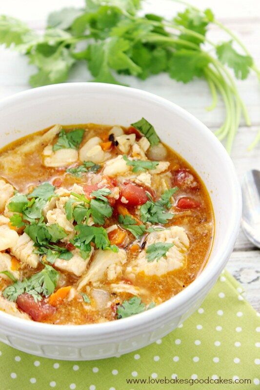 Slow Cooker Chicken Posole in white bowl with cilantro on green place mat close up