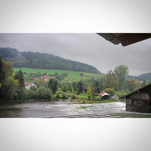 The view from our balcony.  #Regen #River #Chamerau, #Bavaria #Germany