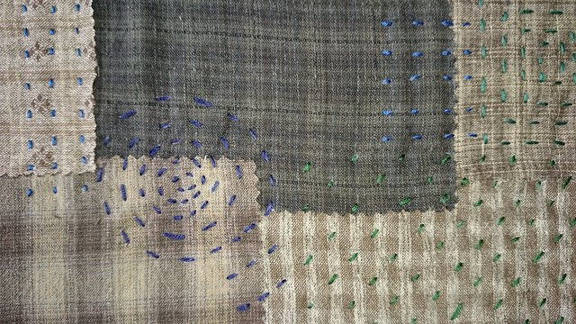 closeup of sashiko bag outer fabric