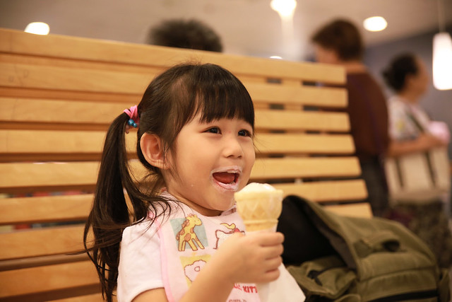 She is enjoying her own ice cream, as a gift from IKEA.